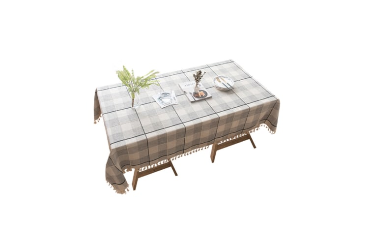 Lattice Cotton And Linen Tablecloth Wrinkle Prevention Mildew Proof Tablecloth Black 90*90Cm