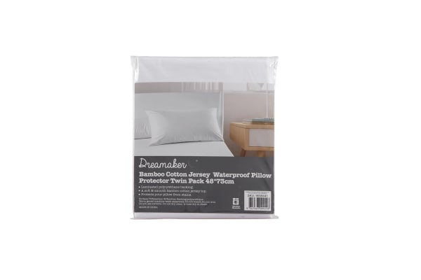 Bamboo cotton jersey waterproof  pillow protector Twin Pack