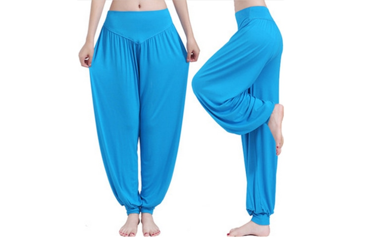 Womens Modal Cotton Soft Yoga Sports Dance Harem Pants Lake Blue S