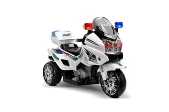 Kids Ride on Police Motorbike with Lights (White)