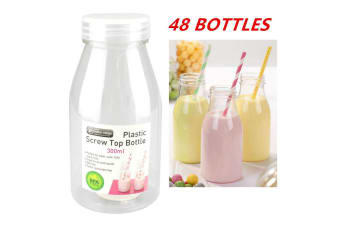 48 x 300ML PLASTIC MILK BOTTLE CANDY JAR CONTAINER WHITE LID PARTY LOLLY BUFFET JUICE