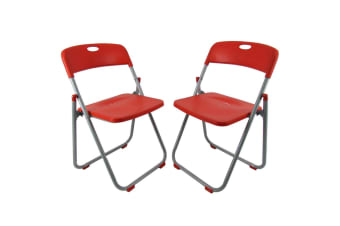 2 x Folding Office Chairs Padded Camping Picnic Arm Foldable Chair - Red