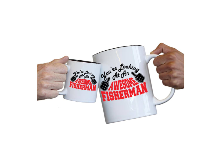 123T Novelty Funny Giant 2 Litre Mugs - Fisherman Youre Looking Awesome