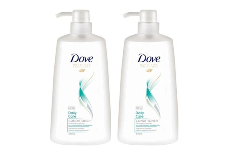 2x Dove 640ml Conditioner Daily Care/Lightweight Technology/Normal to Fine Hair
