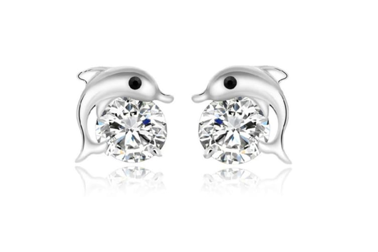 Cute Lovely Dolphin Earrings Cubic Zirconia Crystal Stud Earrings P000020