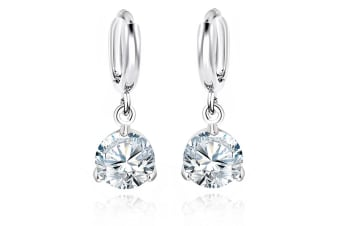 Round Crystal Drop Earrings-White Gold/Clear