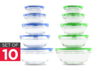 Set of 10 Glass Bowls with Lids