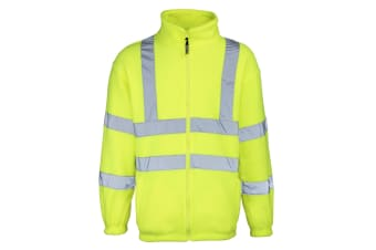 RTY High Visibility Mens High Vis Full Zip Fleece Jacket (Pack of 2) (Fluorescent Yellow)