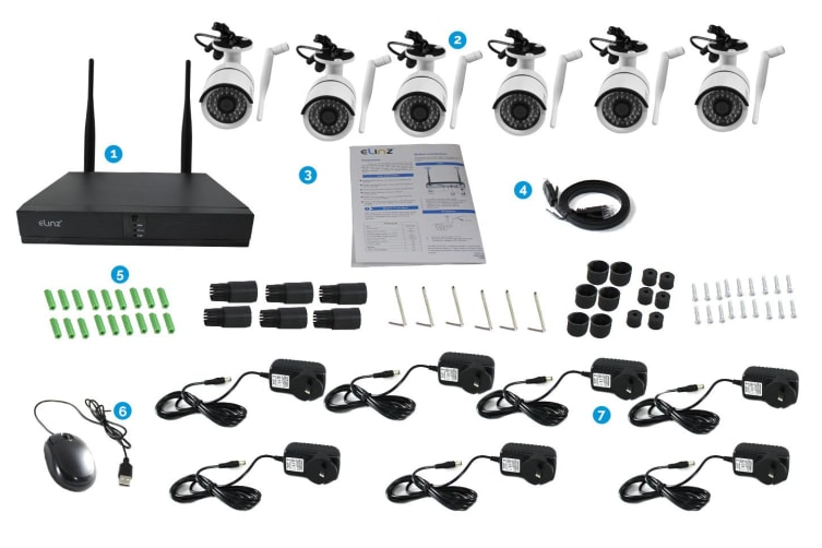 Elinz 8CH CCTV Wireless Security System 2MP IP WiFi 6x Camera 1080P NVR Outdoor No HDD