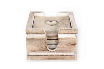 Wooden Heart Design Coasters (Set of 6) (Beige)