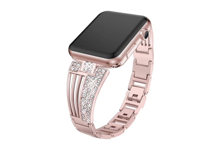 Suitable For Apple Watch Fan-Shaped Stainless Steel Alloy Flash Drill Strap-38/40mm-ROSE POWDER
