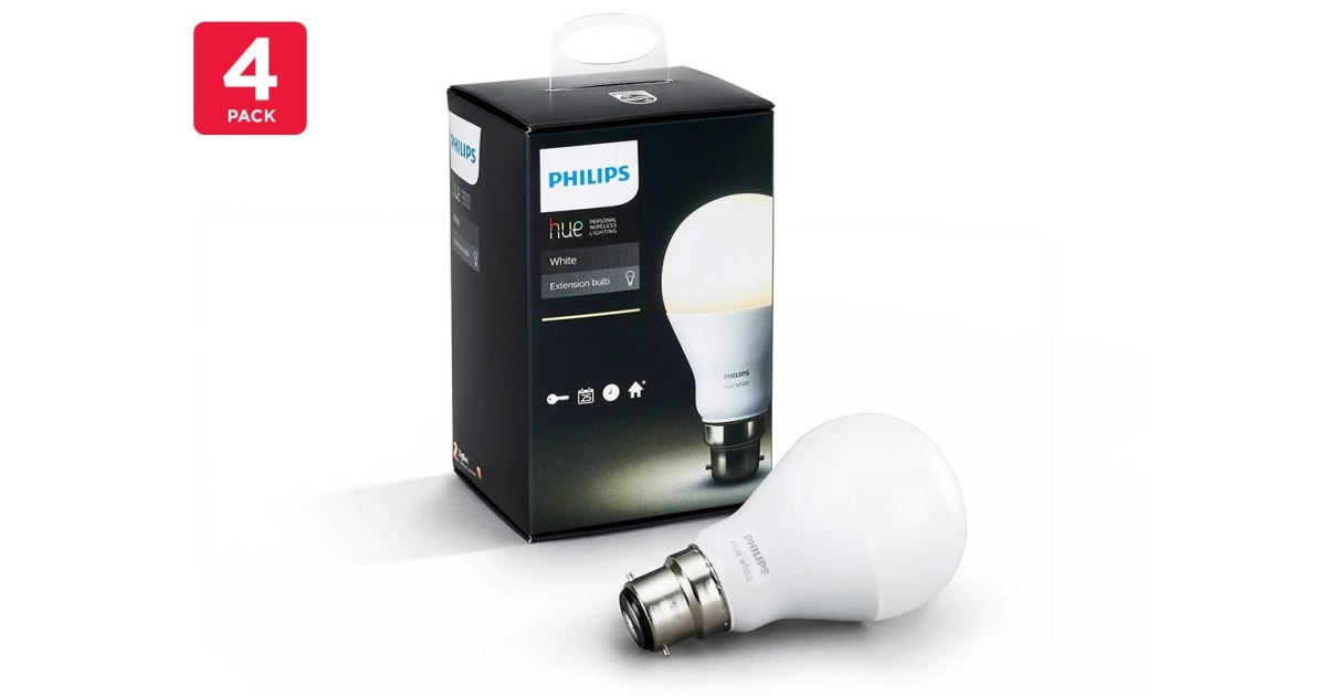 philips hue white light bulb 9 5w a60 b22 4 pack tandy. Black Bedroom Furniture Sets. Home Design Ideas