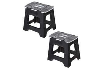 2x Vigar Foldable Stool 32cm Opera Portable Step Stool Folding Plastic Chair BLK