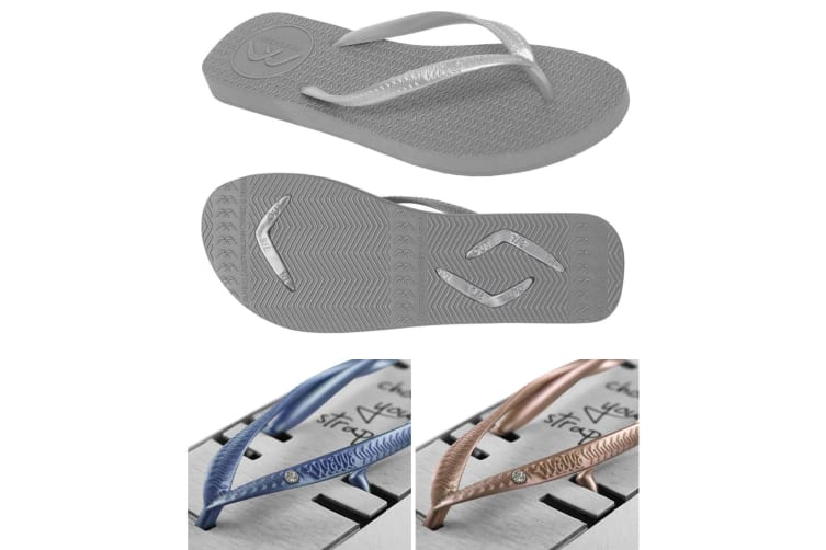 Women's Grey Slim Thongs with 2x Pairs of Interchangeable Navy and Gold Diamante Straps Size 7/8