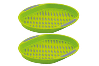 2pc Avanti 40cm Round Non Slip Serving Plastic Tray Drink Food Dish Server Green