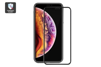 iPhone Xs Max 3D Gummed Full Cover Tempered Glass Screen Protector Black with Installer