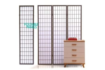 Wooden Foldable Room Divider in GREY 3 Panel