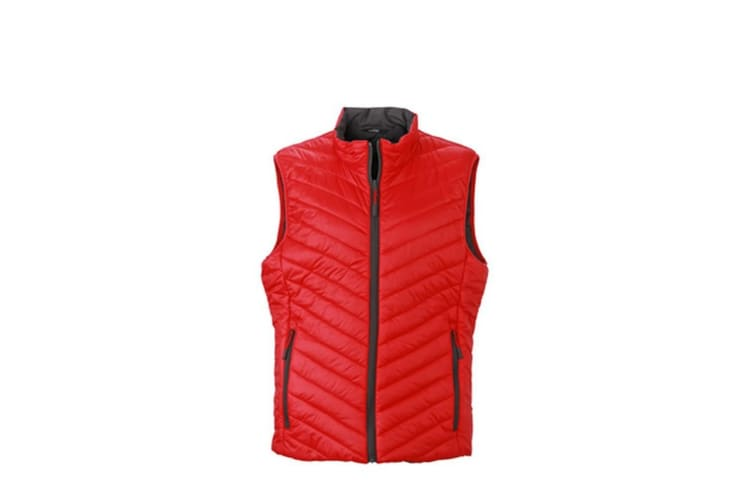James and Nicholson Mens Light Weight Vest (Red/Carbon Grey) (XXL)
