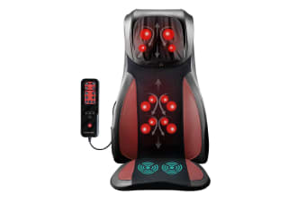 Full Body Neck Back Massager Shiatsu Massage Chair Car Seat Cushion-Red