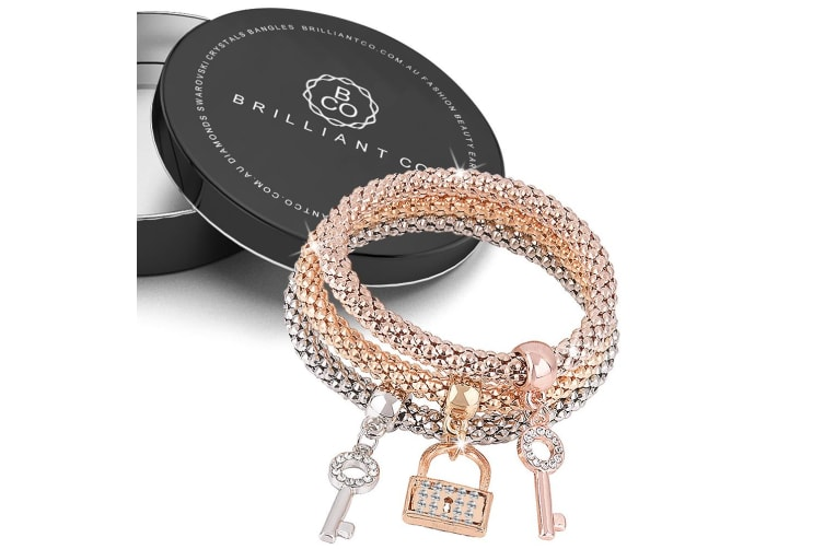 Boxed 3Pc Duo Key Padlock Bracelet Set