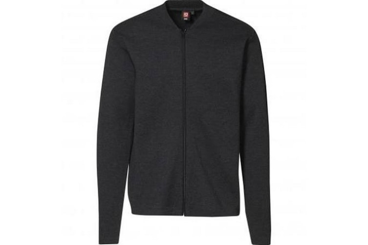 ID Mens Fitted Full Zip Knitted Cardigan (Charcoal Melange) (4XL)