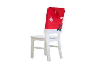 Christmas Chair Back Covers - Red Santa Hat Chair Slipcover For Dining Room Decor