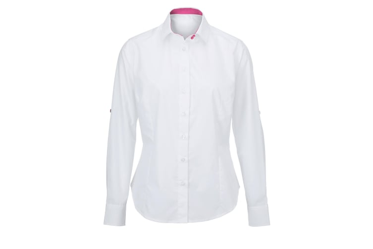 Alexandra Womens/Ladies Roll Sleeve Hospitality Work Long Sleeve Shirt (White/ Pink) (2XL)