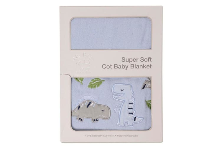 My Baby Dinotopia Super Soft Cot Baby Blanket - Blue