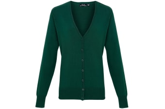 Premier Womens/Ladies Button Through Long Sleeve V-neck Knitted Cardigan (Bottle) (24)