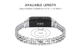 Select Mall Beaded and Sparkling Strap for Samsung Samsung Galaxy Fit SM-R370-Silver
