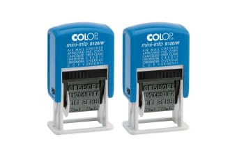 2x Colop Dial-A-Phrase 4mm Stamp Office/Company Document Word Stamper/Press Blue