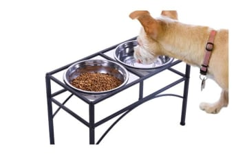 Dual Elevated Raised Pet Feeder Bowl Stainless - Medium