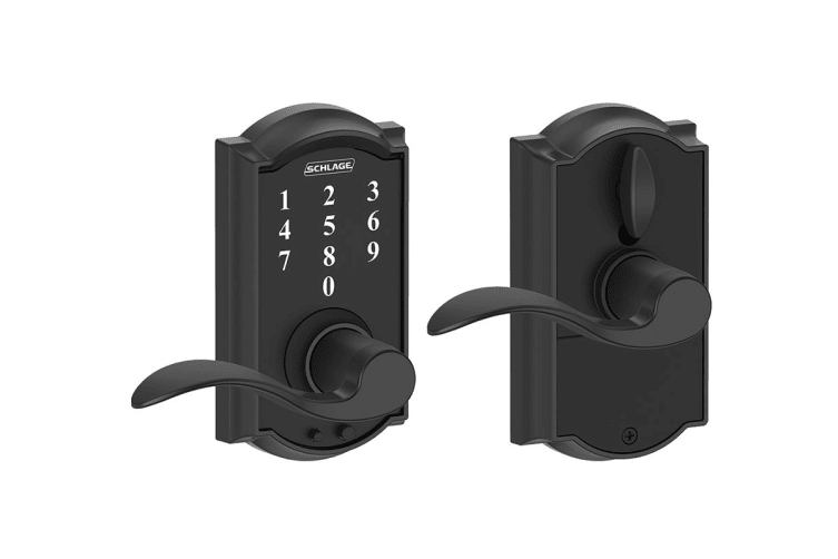Schlage Touch Keyless Touchscreen Lever with Camelot Trim and Accent Lever (Matte Black)