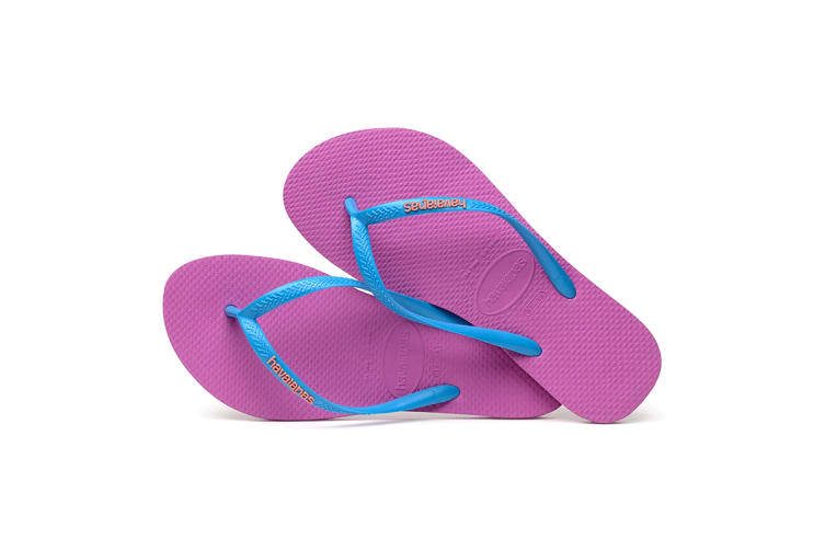 Havaianas Slim Logo Pop Up Thongs (Ice Pink/Turquoise, Size 35/36 BR)