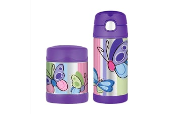 Thermos Funtainer 290ml Food Container + 355ml Drink Bottle Purple Butterfly