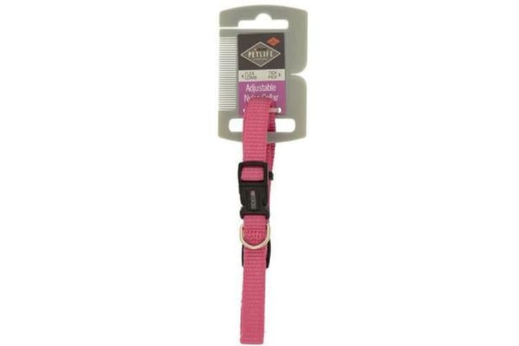Petlife Nylon Adjustable Collar Pink - Small