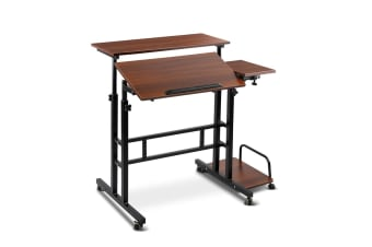 Mobile Twin Laptop Desk (Dark Wood)