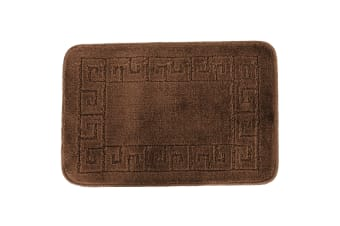 Euroban Small Rectangular Swirl Bath Mat (Brown) (40 x 60cm)