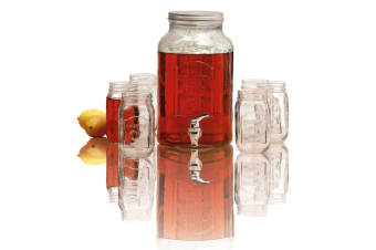 Avanti 5.7l Glass Beverage Dispenser + 6 Mason Jars 470ml