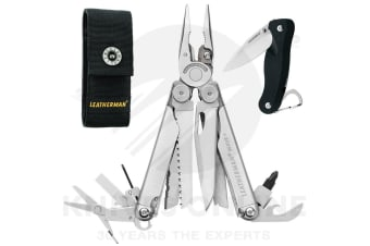NEW LEATHERMAN WAVE PLUS + STAINLESS MULTITOOL + SHEATH + CRATER C33 KNIFE