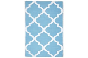 Coastal Indoor Out door Rug Trellis Turquoise White 270x180cm