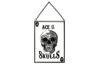 Cabinet Of Curiosities Glass Ace Of Skulls Hanging Sign (Black) (One Size)