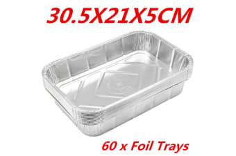 60 x Aluminum Foil Trays BBQ Disposable Roasting Oven Baking Tray Party 30.5X21X5CM