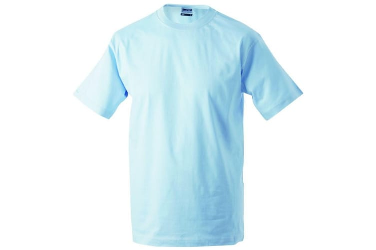 James and Nicholson Mens Workwear T-Shirt (Light Blue) (XXL)