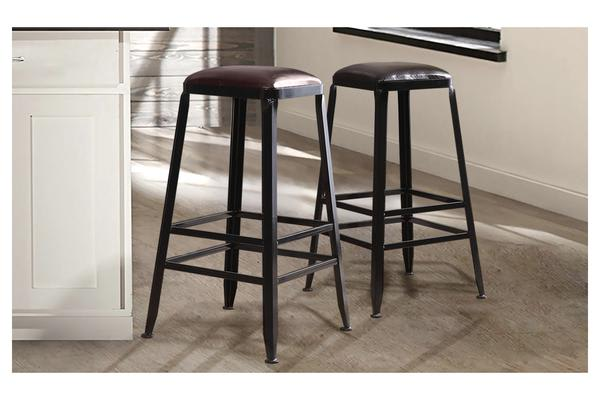 2x Vintage Industry Rustic Bar Stool Square PU Seat