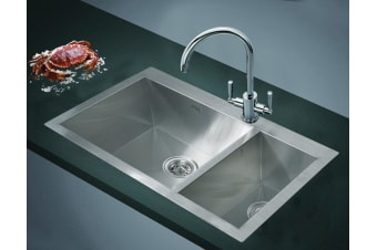 745x505mm Handmade Stainless Steel Topmount Kitchen Sink with Waste