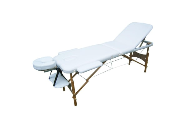 Genki Portable 3-Section Massage Table Chair Bed Foldable with Carry Bag - High Density Foam - White