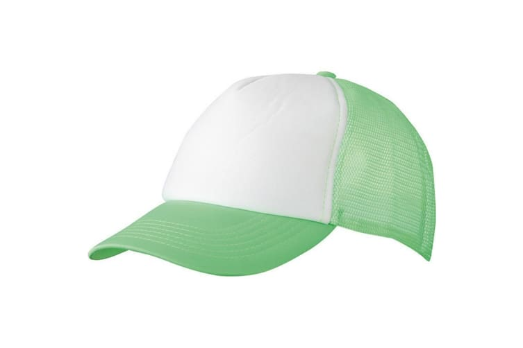 Myrtle Beach Adults Unisex 5 Panel Polyester Mesh Cap (White/Neon Green) (One Size)