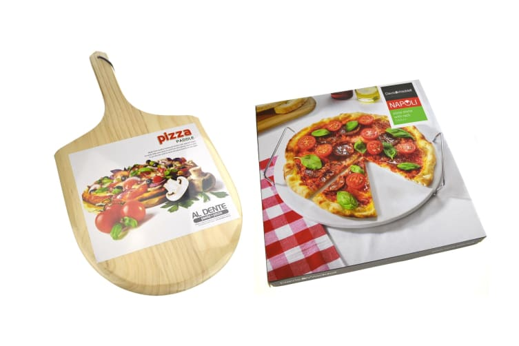 Pizza Combo Pack 33cm Pizza Stone + Serving Rack + Paddle