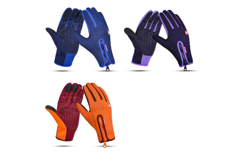 Outdoor Sport Gloves For Men And Women Skiing With Cold-Proof Touch Screen - 6 Purple XL